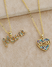 Fashion Golden Copper Inlaid Zircon Letter Mama Necklace