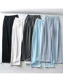 Fashion Fluorescent Blue Solid Color Pockets Heart Patch Wide Loose Straight-leg Pants