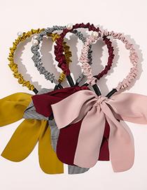 Fashion Turmeric Bowknot Solid Color Braided Hair Pleated Headband