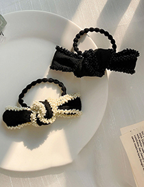 Fashion White Bow Knot Rice Beads Beaded Hair Rope