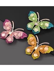 Fashion Green Alloy-studded Butterfly Brooch