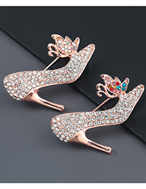 Fashion Ab Color Alloy Diamond Butterfly High Heels Brooch