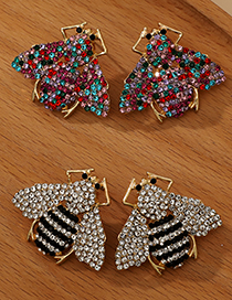 Fashion Color Alloy Diamond Insect Stud Earrings