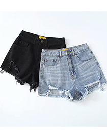 Fashion Blue Washed Stretch Denim Shorts With Ripped Holes