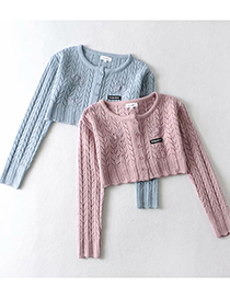 Fashion Blue Short Butterfly Cutout Knitted Cardigan Sweater
