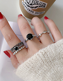 Fashion Chain Clause Heart Alloy Geometric Opening Adjustable Ring