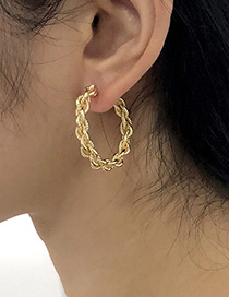 Fashion Gold Color Alloy Chain Twist C-shaped Earrings