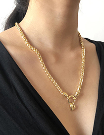 Fashion Gold Color Alloy Love Round Hollow Necklace