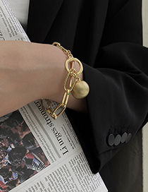 Fashion White K Alloy Thick Chain Round Bead Bracelet