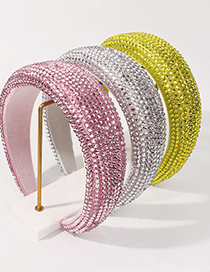 Fashion Green Sponge Diamond Broad-brimmed Solid Color Hair Band