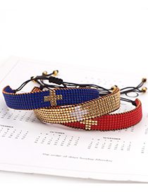 Fashion Red Pure Color Cross Hand-woven Rice Bead Bracelet