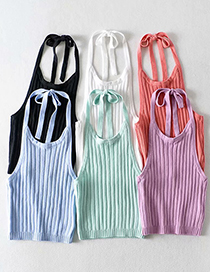 Fashion White Halter Tie Pit Strip Knitted Sling Top
