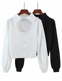 Fashion White Loose Lapel Pullover Sweater