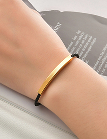 Fashion Black Rope Gold Lettering Braided Rope Stainless Steel Bracelet