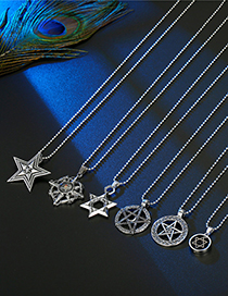 Fashion Big And Small Five-pointed Star Six-pointed Star Hollow Star Compass Necklace