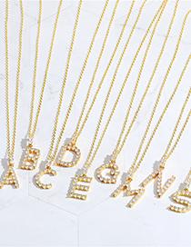 Fashion B Copper Micro Inlaid Zircon Letter Necklace