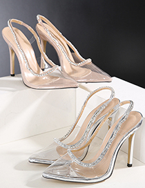 Fashion Silver Color One Word With Square Toe Rhinestone Bow Sandals