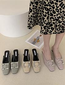 Fashion Purple Baotou Rhinestone Square Toe Mid-heel Thick Sandals And Slippers