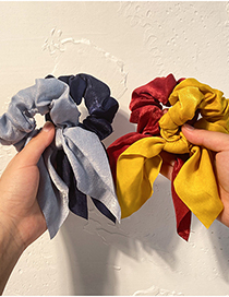 Fashion Yellow Pure Color Silk Scarf Fabric Knotted Hair Tie