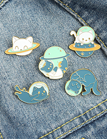 Fashion Cat 1 Cosmic Planet Space Cat Dripping Alloy Brooch