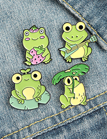 Fashion Frog Shelters The Rain Strawberry Frog Dripping Oil Guitar Brooch