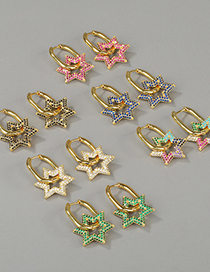 Fashion White Zircon Copper Micro-inlaid Zircon Five-pointed Star And Six-pointed Star Double Ring Lock Earrings