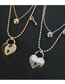 Fashion Golden Round Bead Chain Love Heart Lock Multilayer Necklace