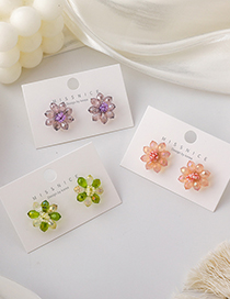Fashion Pink Colorful Crystal Flower Earrings