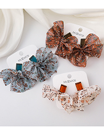 Fashion Brown Floral Fabric Print Earrings
