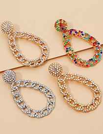 Fashion Color Alloy Diamond Chain Hollow Drop Earrings