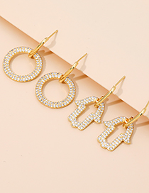 Fashion Golden Alloy Diamond Palm Earrings