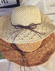 Fashion Light Beige Crochet Large-edge Hollow Foldable Large-brimmed Sun Hat