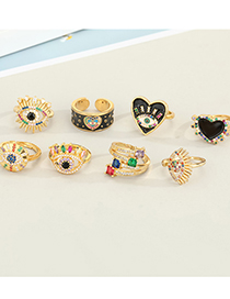 Fashion Black Love Eyes Gold-plated Copper Micro-inlaid Colorful Zircon Geometric Open Ring