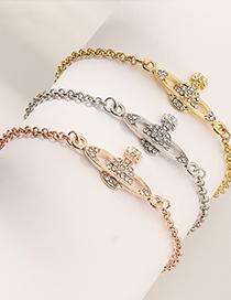 Fashion Silver Textured Saturn Diamond Planet Bracelet