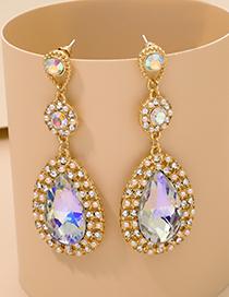 Fashion Ab Color Alloy Diamond Drop-shaped Earrings