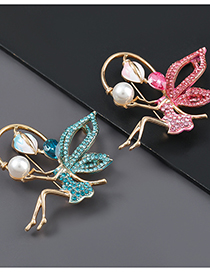 Fashion Blue Alloy Oil Drop Diamond Flower Fairy Brooch