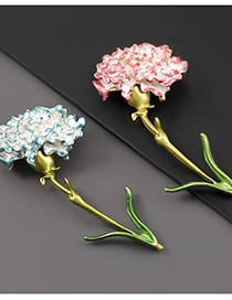 Fashion Blue Alloy Drop Oil Carnation Brooch