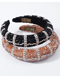 Fashion Black Contrasting Color Wide-brimmed Headband With Crystals And Diamonds