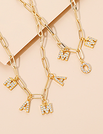 Fashion Golden Copper Inlaid Zircon Thick Chain Letter Necklace