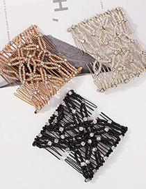 Fashion Black Alloy Pearl And Diamond Mesh Hairpin