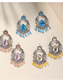 Fashion Blue Alloy Diamond-studded Celebrity Style Tassel Earrings