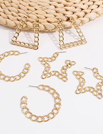 Fashion Golden Semicircle Alloy Chain Geometric Shape Earrings
