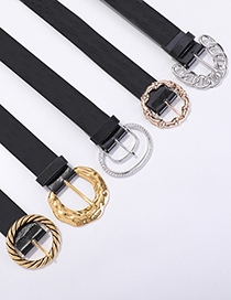 Fashion Golden Rounded Rectangle Chain Pu Alloy Geometric Shape Belt