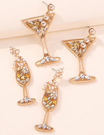 Fashion Champagne Glass Goblet Geometric Diamond Earrings