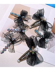 Fashion Bright Flowers Bow Tie Zircon Pearl Hairpin