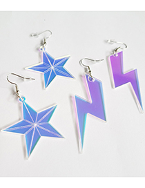 Fashion Lightning Laser Color Changing Hollow Five-pointed Star Love Lightning Earrings
