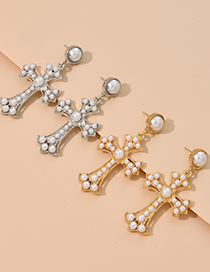 Fashion Gold Color Alloy Pearl Cross Stud Earrings