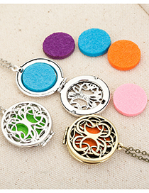 Fashion Ancient Silver Color + 7 Color Pieces Tree Of Life Perfume Distributor Necklace