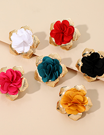 Fashion Red Alloy Fabric Flower Earrings