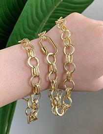 Fashion Golden Copper Inlaid Zircon Thick Chain Ring Necklace